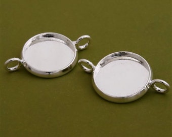 10pcs 14mm BRASS Base Trays Double loop silver tone pewter blank pendant