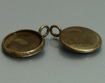 50pcs 14mm BRASS Base Trays antique bronze blank pendant