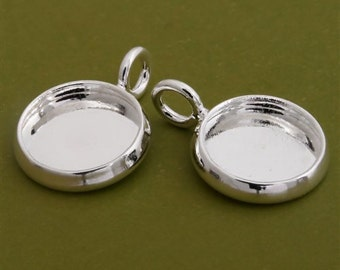100pcs 10mm BRASS Base Trays silver tone pewter blank pendant