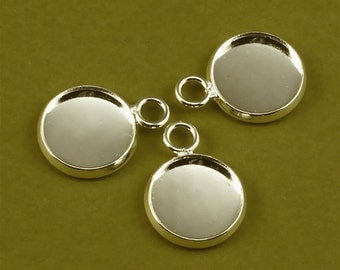 10pcs 12mm BRASS Base Trays The same side of the loop silver tone blank pendant