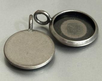 10pcs 12mm BRASS Base Trays antique silver blank pendant