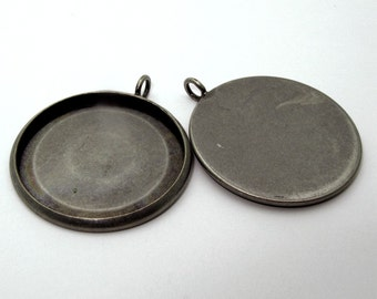 10pcs 27mm BRASS base Trays antique silver blank pendant