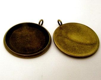 20pcs 27mm BRASS Base Trays antique bronze blank pendant