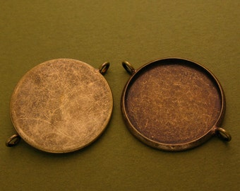 10pcs 27mm BRASS Base Trays Double ring antique bronze pewter blank pendant---order