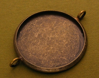 20pcs 27mm BRASS Base Trays Double ring antique bronze pewter blank pendant---order