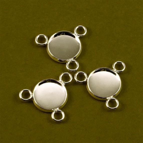 20pcs 12mm BRASS Base Trays three loop silver tone blank pendant
