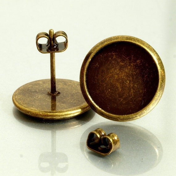 5 pairs (10pcs)12mm BRASS Base Trays antique bronze blank Earrings
