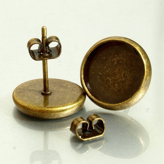 50 pairs (100pcs)10mm  BRASS Base Trays antique bronze blank Earrings