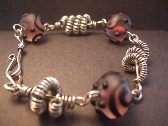 Silver and lampwork glass bead bracelet