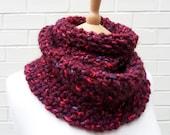 SALE - Chunky Moss Stitch Wool Scarf - Black Cherry - OOAK