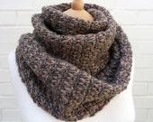 Soft Wool Fairisle and Moss Sitich Tweed Scarf - Nutmeg - OOAK
