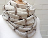 Brandy Rose - Natural Fine Scarf with Lacey Stripes