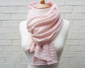 Fine Knit Scarf in Oyster Pink Stripes