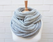 Long Pale Grey Chunky Knit Cowl - Ghost - LAST ONE
