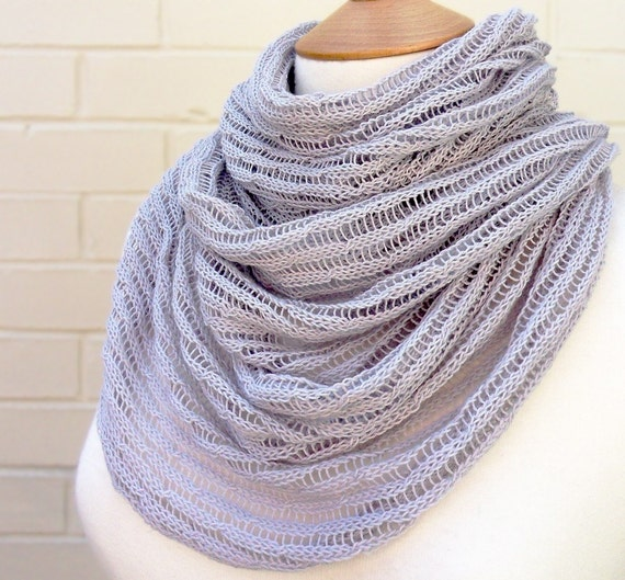 SALE - Fine Cable Knit Scarf with Tassels - Lavender Grey