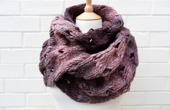 Chunky Purple Tweed Wool Scarf - Heather - OOAK