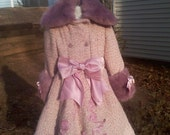 Child size Wool and Faux Fur Coat and matching Hat