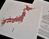 Hearts for Japan Fundraiser - Embossed Heart Filled Map Note Cards