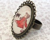 Red Dorothy and Toto Ring -The Wizard of Oz - Image Jewelry - Storybook Jewelry - Cameo Jewelry - Glass Jewelry