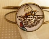 Humpty Dumpty Open Adjustable bracelet bangle (from Alice in Wonderland)