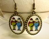Tweedle Dee And Tweedle Dum Earrings  - Alice in Wonderland - Wonderland Jewelry - Image Jewelry - Storybook Jewelry - Alice Jewelry