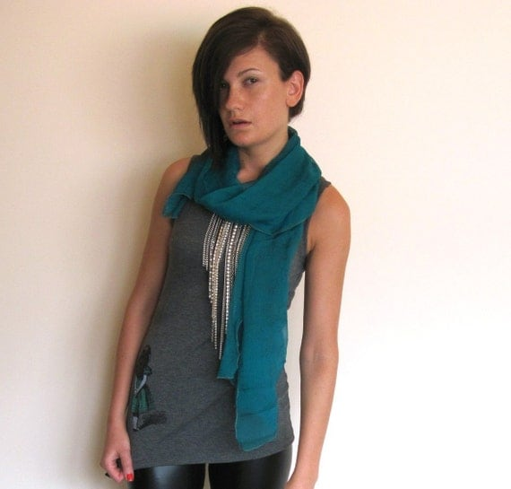 Down the rabbit hole Green-turquoise please silk chiffon ascot scarf LAST ONE
