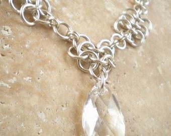 Sterling Rosette Necklace with Swarovski Crystal