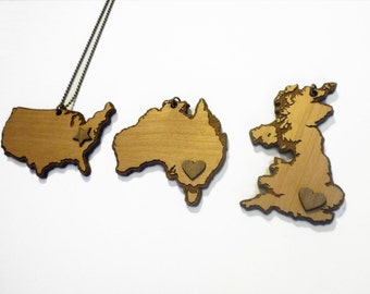Map Necklace (custom map available)