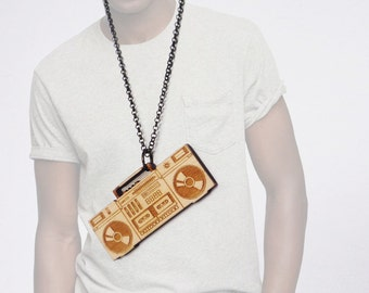 Boombox Necklace (unisex w/custom engraving)