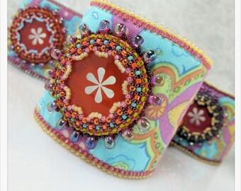 Kit Bead Embroidery - Bohemian Rhapsody Cuff - Tangerine
