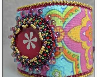 Kit Bead Embroidery - Bohemian Rhapsody Cuff - Berry