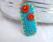 Tumbleweed Kids embroidered wool felt hair clip, little poppies
