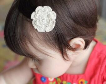 Eco friendly natural color bamboo thread crochet baby hair clip