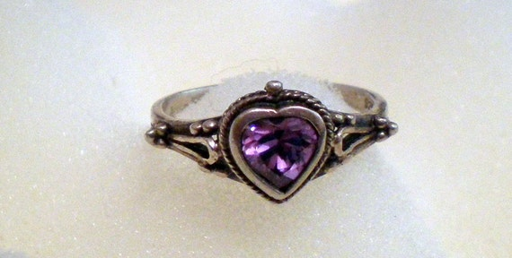 RESERVED Purple CZ Heart Ring Sterling Silver 925 Size 7 Free Ship