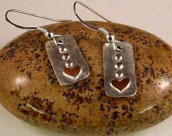 Copper heart on silver Rectangle earrings