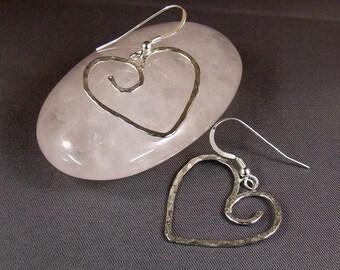 Hammered Wire Heart Earrings