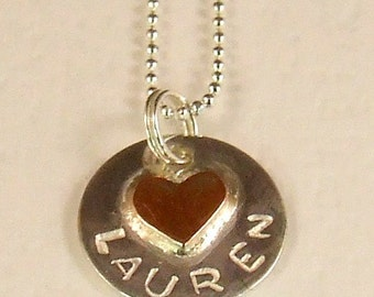 Silver with Copper Heart Pendant