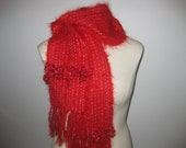 SALE -Red, Silver, Mohair Scarf