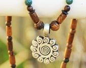 Pewter Pendant (Sun Waves) with Wood Necklace