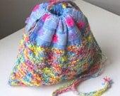Flower Child Hand-knit Drawstring Shoulder Bag