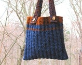 Blueberry and Spice Hand-knit Wool Tote Bag