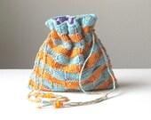 Sunshiny Bliss Hand-knit Cotton Drawstring Bag