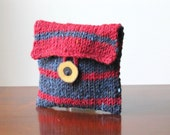 Fruity Stripes Hand-knit Wool Jewellery/Makeup Pouch