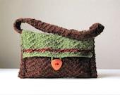 Earth Tones Hand-knit Wool Handbag/Shoulder Bag