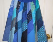 Ladies Knee Length Aline Patchwork Skirt - Turquoise and Blue