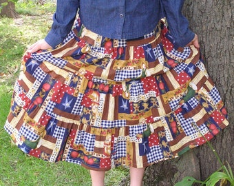 Girls Long Modest Handmade Americana Country Patchwork Peasant Praire Skirt Size 10-12
