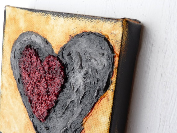 Heart Art / mixed media original / Acrylic on canvas /OOAK/ home decor/ wall hanging/ original painting on canvas