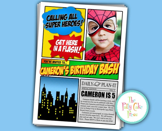 Super Hero Photo Invitation Birthday Party Custom Printable Digital File Spiderman Superman Batman Captain America Superhero