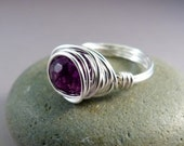 Purple Agate Wire Wrapped Ring - Silver FILLED Wire