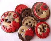 Mocha Love (handmade buttons collection of  7)